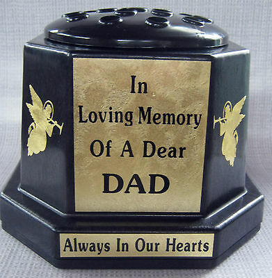 UK MADE Memorial Vase Pot Grave Cemetery DAD Angels Gold In Loving Memory