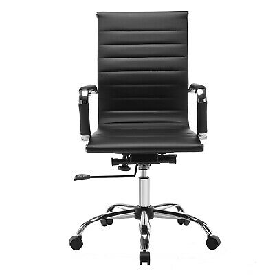 Ergonomic High Back Home Office Chair Swivel PU Leather Computer Desk Seat Black