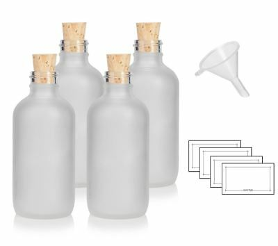 4 oz Frosted Clear Glass Boston Round Bottle with Cork Stopper + Funnel + Labels