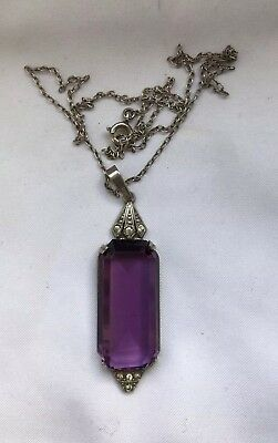 Tested Silver Art Deco Style Amethyst Paste Necklace