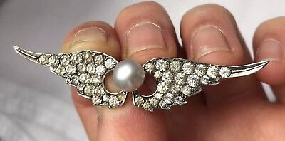 Art Deco Tested Silver Paste Paving Two Wings And Pearl Brooch