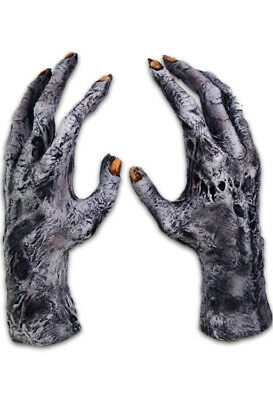 Zombie Gloves Gray Latex Rotted Cold Dead Flesh Adult Halloween Prop Hands OS