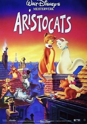 1970's animated THE ARISTOCATS 12x16 German 2-sided poster card