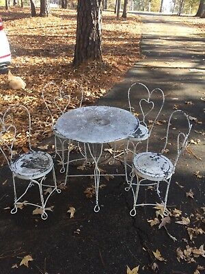 Child Size Vintage Antique Ice Cream Parlor Set Wrought Iron Table And 4 Chairs
