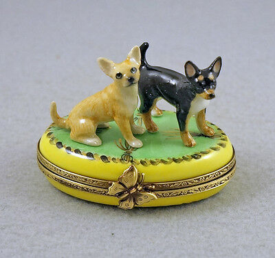 New Hand Painted French Limoges Trinket Box Chihuahua Dog Puppies On Green Rug
