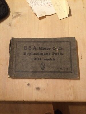 BSA Motor Cycle Replacement Parts 1931 Book Collectors Item Classic Motorbike