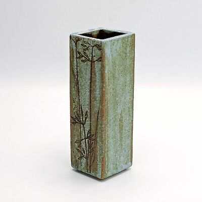 Studio Pottery Stoneware Slab Vase with Incised Seed Heads - Winifred Wright?