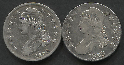 Lot of 2 Early Halves Dates: 1828, 1836