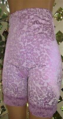 Purple Rose Satin Jacquard Nylon  Spandex & Lace Open Crotch Panty Girdle 6X/42