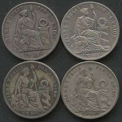 Lot of 4 Peru 1 Sols Dates: 1865YB, 1884RD, 1923(2)