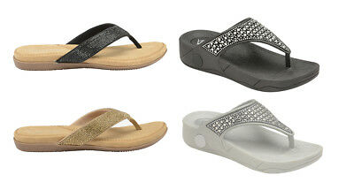 c21185b75906c Ladies Dunlop Low Wedge Fit Flip Flop Toe Post Crystal Sandals Slippers Size  3-8