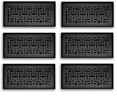6 PACK - 4x10 Black Steel Decorative Floor Air Vent Covers Grille Register Grate