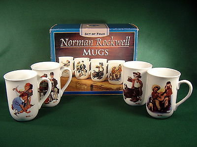 4 Norman Rockwell Porcelain Collectible Mugs ~ New in Box