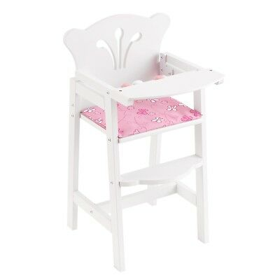 Baby Wooden Doll High Chair Girl Play Cradle Sturdy Reversible Pad Pink White