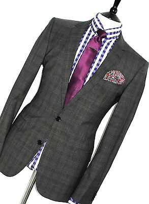 Mens Luxury Hugo Boss Tartan Box Check  Tailor-Made Slim Fit Suit 40R W34 X L32