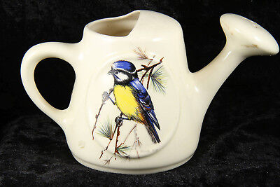 Brixham pottery Devon pottery china watering can featuring blue & crested tit