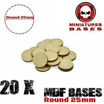 25mm 20pcs/lot MDF Round Bases gaming miniatures Basing Laser Cut Wargames wood