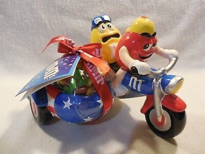 2002 M&M's Galerie Ceramic Red & Yellow on Stars & Stripes Motorcycle Candy Dish