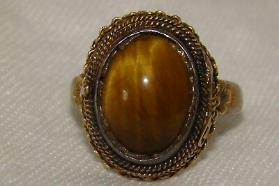 Antique Chinese Silver Tigers Eye Locket Poison Ring