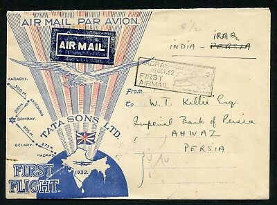 FIRST AIRMAIL cover INDIA to Persia via IRAQ Madras Karachi flight 1932 air