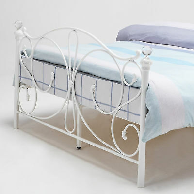 Victorian Style Metal Bed Frame White King Size 5FT French Bed Vintage Shabby UK
