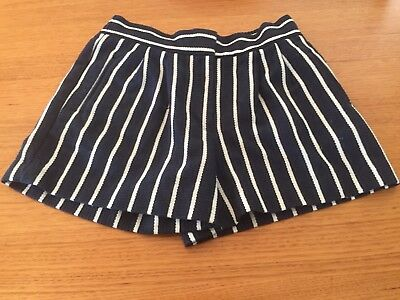 Country Road Size 10 Navy & White Stripe Poly Cotton Weave Shorts