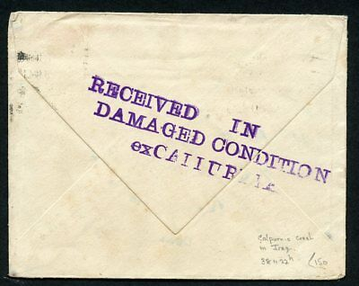 Iraq Air Mail CRASH OF CALPURNIA wreck cover flown New Zealand UK Imperial Airwa