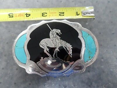 VINTAGE Johnson Held Hand Made Inlay American Indian on Horse Design Belt Buckle