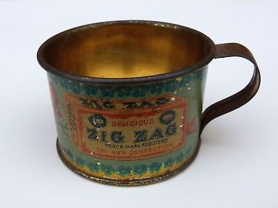 Vintage Early D.L. Clark Zig Zag Confection Ad Tin Cup McKeesport Pa.