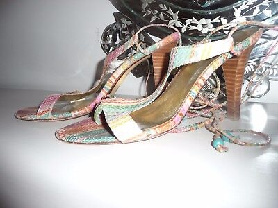 Lace Up Heels By Mollini Multicolour Rainbow Evening Wear Vintage Size 39