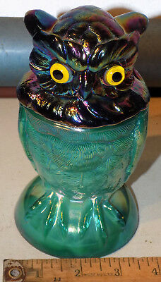 Rare Vintage Imperial Owl Candy Jar Carnival & Iridescent Green Slag Glass W/lid