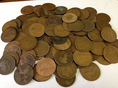 100 x Vintage British Large One Penny, UK copper Pennies Victoria to QEII lot#67