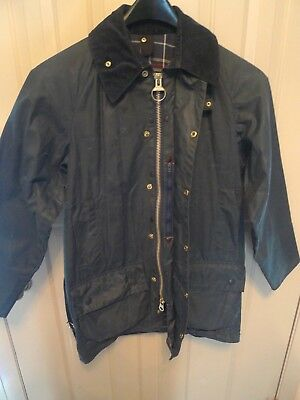 Barbour- A155 Beaufort Waxed Cotton Jacket- Navy--Made In England- Size 36