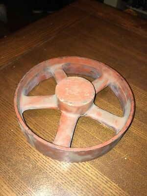 Vintage Cast Iron Metal Pulley Gear Wheel Industrial Steampunk Lamp Base 8.5""