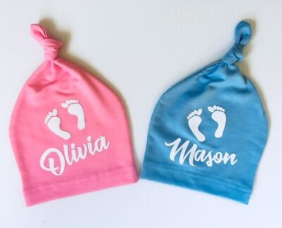 1 Personalized custom Name baby cotton Beanie hat newborn 6 mo brand new