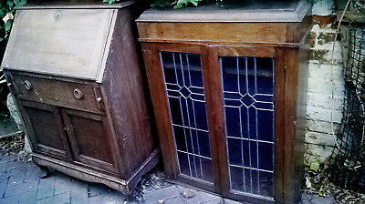Vintage Bureaux  Writing Desk  Top Glass Leaded  Cupboard  Up Cycle