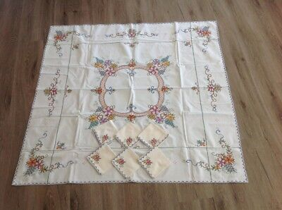 Square Embroidered table cloth plus 6 napkins