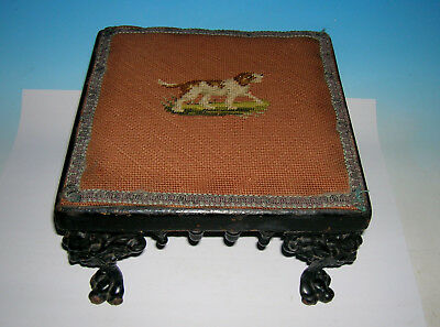 Antique Victorian Hooked Dog design Foot Stool Ornate Metal Legs  w Wood Finials