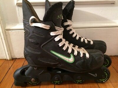 NIKE Zoom Air Hockey Inline Mens Skates Roller Blades US 10 Black Green