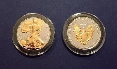 2010 24K GOLD &  RUTHENIUM AMERICAN SILVER EAGLE  *Enchanced on Both Sides*
