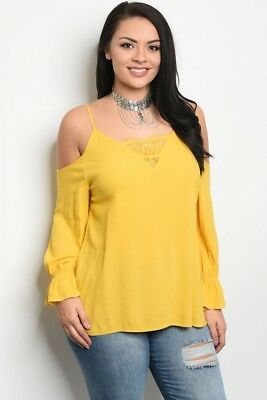 414844efc Women's Plus Size Yellow Cold Shoulder Lace Accent Long Sleeve Top 2XL NWT