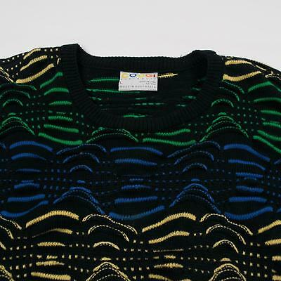 Men's COOGI Vintage Cosby 3D Texture WAVE Multicolored Textured Sweater Size L