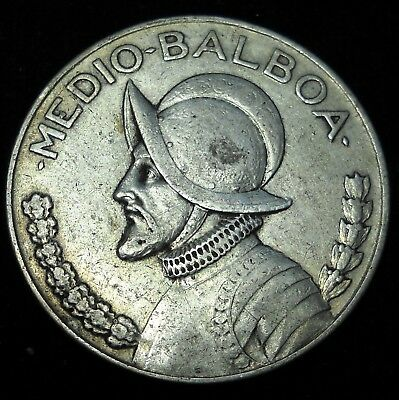Panama 1932 1/2 Balboa. Key Date.  World - Foreign Silver Coin.  Free Shipping!