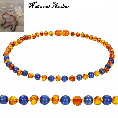 Blue Stone Natural Baltic Honey Amber Necklace Baby Child Certified 3 Sizes