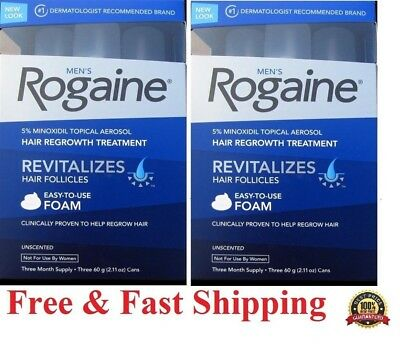 6 Month Men's Rogaine foam Extra Strength 5% Minoxidil Hair Regrowth Treatment