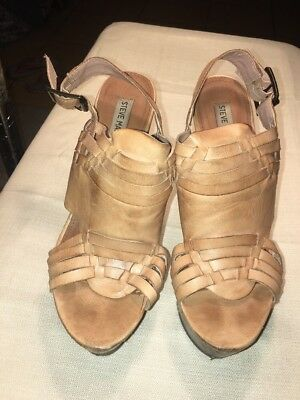 8657fba081f8 WOMANS STEVE MADDEN WEDGE WOODEN HEELS Leather BUCKLE Brown SIZE 9.5M