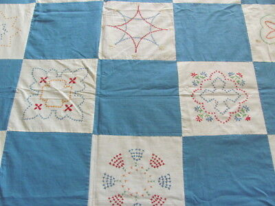 Dated 1940 blue hand embroidery sampler quilt top