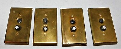 4 antique vintage push button light switches with brass cover plates