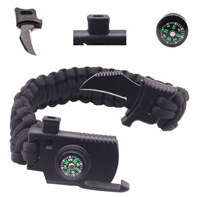 New Outdoor Survival Bracelet Knife Paracord Compass Whistle Scraper Rope Gear