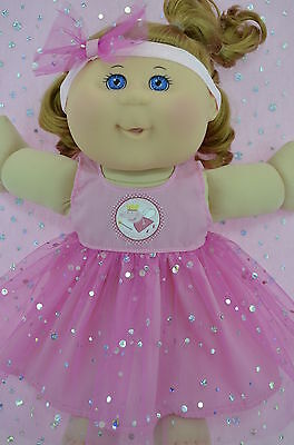 "Play n Wear Doll Clothes To Fit 14"" Cabbage Patch PINK SEQUIN DRESS~HEADBAND"